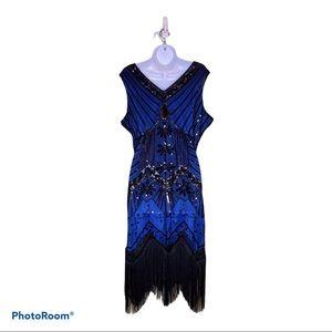 Flapper  Royal Blue Beads Sequins Fringe Dress Lg